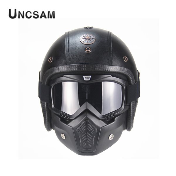 A-Free Shipping PU Leather Off-Road Retro Men's Motorcycle Helmet 3/4 Open Face Mask Desmontable para Haley
