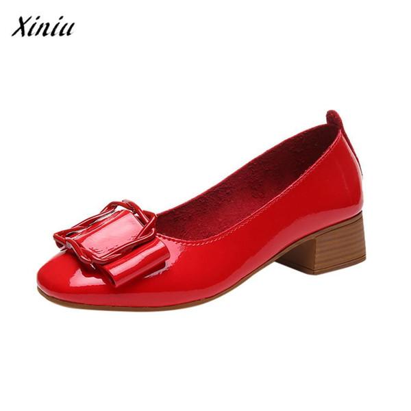 Designer Dress Shoes Xiniu Zapatos De Mujer Woman Hot Retro Design Fashion Casual Round Toe Shallow Work Ladies Square Heel Buty Damskie
