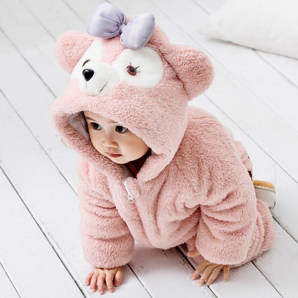 Baby Animal Pagliaccetto Simpatico Gatto Orso Elefante Coniglio Vestiti per Neonate Toddler Boy Flanella Tuta Calda Indumento esterno
