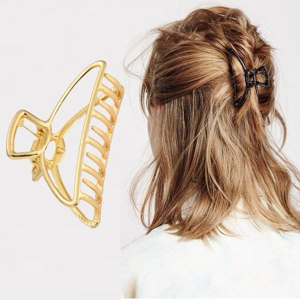 Women Geometric Hair Claw Solid Color Hair Crab Retro Moon Shape Pearl Clips Make UP Accessories Large Size Hairpin