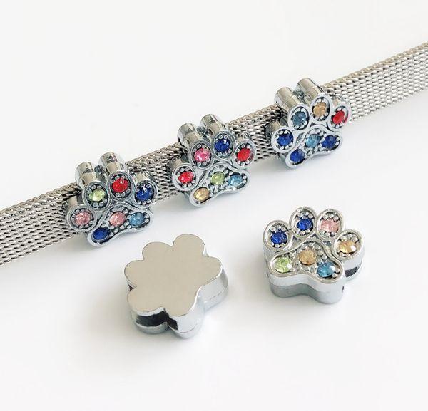 Lovely 8mm Enamel Print Paw Slide Charms Slider Letters Fit 8mm Belts Bracelet