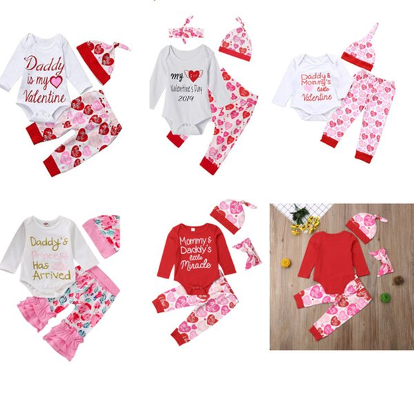 baby girl valentine day outfit Daddy is my Valentine clothing sets newborn toddler long sleeve rompers hats red heart pants infant 3pcs set