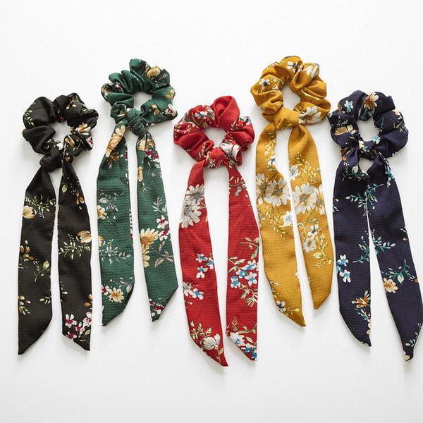 Vintage Çiçek Saç Scrunchies Yay Kadın Aksesuarları Saç Bantları Kravatlar Scrunchie At Kuyruğu Tutucu Kauçuk Halat Şerit Çocuklar Büyük Uzun Yay