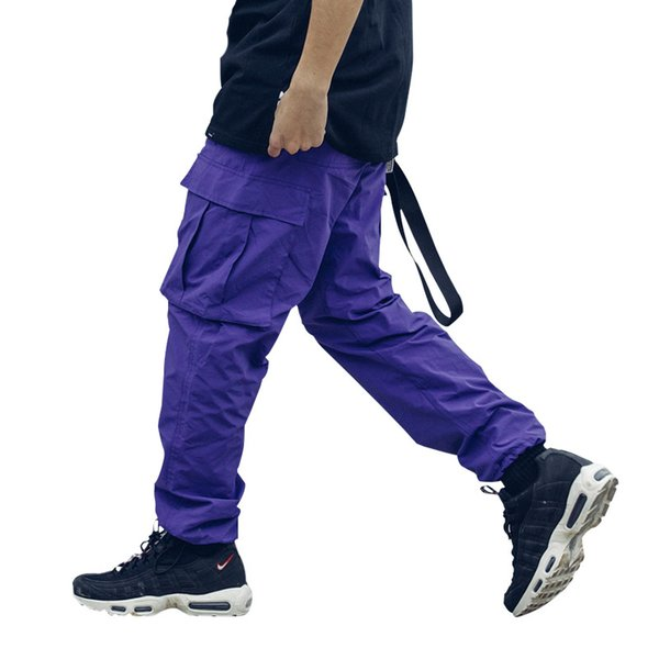 2019 new loose Long Pant Men cargo pants Baggy Trousers Fashion Fitted Bottoms street wear hip hop Pocket pant purple