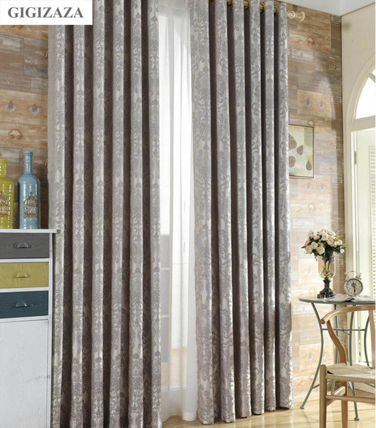 top popular Silk flower Jacquard window curtains for livingroom GIGIZAZA silver 3D floral black out drapes window treatment bedroom 2021