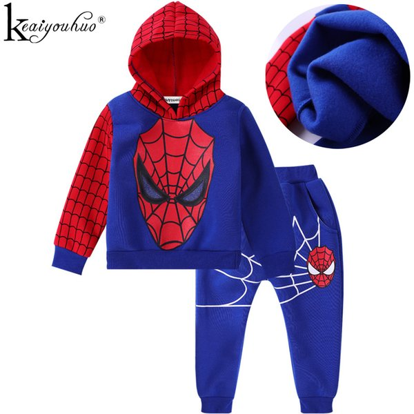 Keaiyouhuo Spiderman Hooded Toddler Boys Sport Suit Kids Clothes Cotton Outfits Suits Children Clothing Sets Q190523