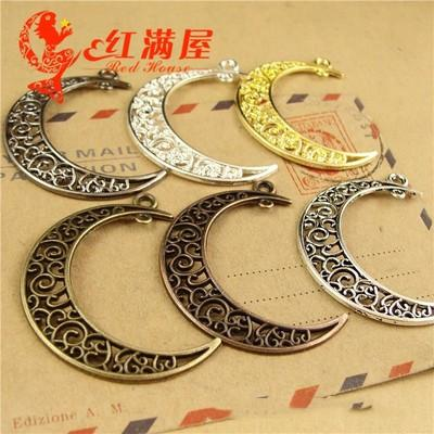 A3763 40*33MM Antique Bronze Moon charms Star Pendant jewelry accessories wholesale, vintage silver plated charm, gold tone charms lot