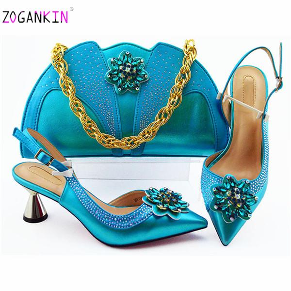 Cor azul Novo Design Sapatos Elegantes Africanos E Saco Para Combinar Conjunto Italiano Confortável Saltos Sapatos De Festa E Saco Conjunto Para O Casamento