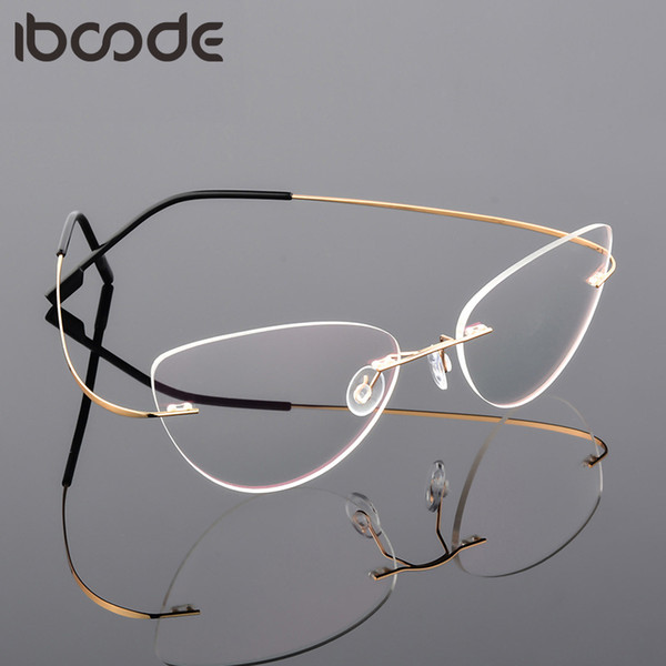iboode Cat Eye Складная Сверхлегкая памяти титанового сплава Rimless Близорукость очки Оптические очки кадр Мужчины Оптические очки