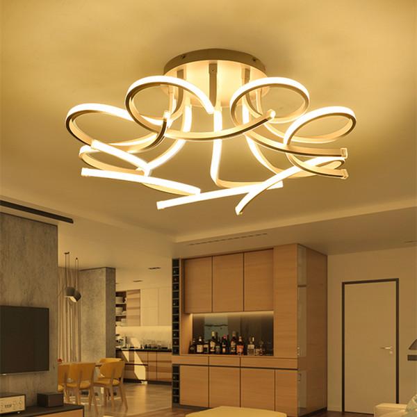 I moderni acrilico Lotus ha condotto le luci di soffitto Art White Flower superficie della lampada a soffitto per il salone di studio da letto della decorazione della casa
