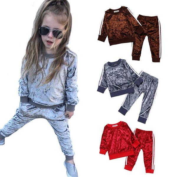 2pcs/lot Fashion kids boys girls sports striped long sleeve velvet suit autumn spring set solid color children clothing