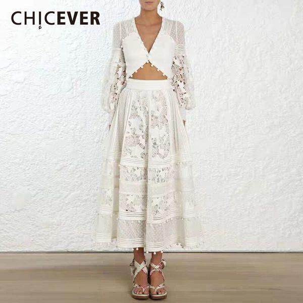 Chicever ahueca hacia fuera los vestidos de las mujeres atractivas con cuello en v cintura alta manga de la linterna del remiendo bola del pelo vestido de encaje femenino 2019 moda