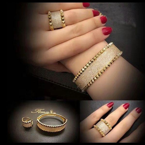hip hop diamanten ring armband für frauen kupfer zirkons luxus ringe armbänder schmuck set valentinstag geschenk für freundin frau