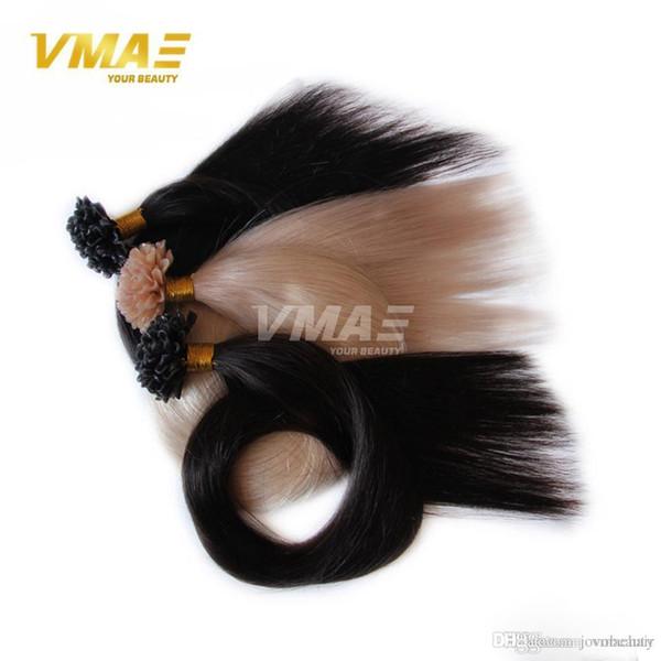Estensioni dei capelli Pre-Legati VMAE Italiano Cheratina Fusion Indiano naturale diritto 1g / filo 100g NAIL U Ustione vergine dei capelli vergine