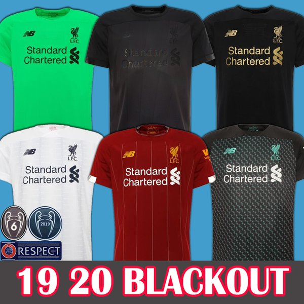 2019 2020 new mohamed alah blackout occer jer ey 2019 6 trophy mane top virgil football hirt cami eta firmino kit ali on black maillot