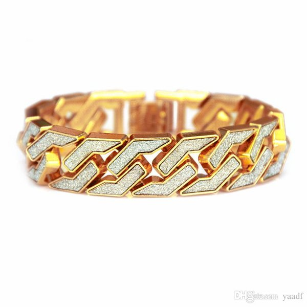 Father's Day Gift Cuban Chain Bracelet For Mens Ice Out Hip Hop Bracelets Gold Plating Bangle Zircon Chains