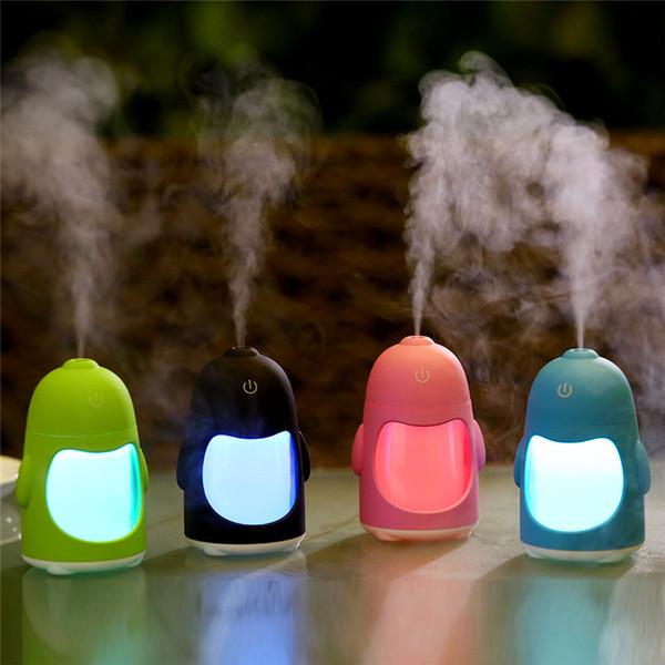Dessin animé mini pingouin humidificateur Creative usb coloré couleur veilleuse décoration de la maison atmosphère lumière atomiseur à air ultrasonique