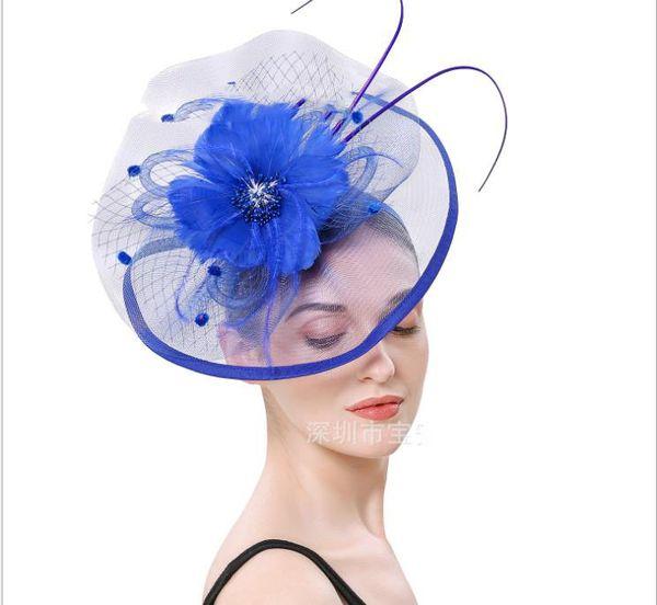 Сетчатая шляпа изящного пухового цветка королевской европейской и американской модной отделки