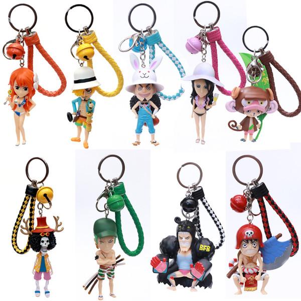 1 ADET Rastgele Tek Parça Anahtarlık Zoro Luffy Japon Anime Action Figure Anahtarlık PVC Rakamlar Anahtarlık Oyuncaklar Unisex Hediyeler YENI