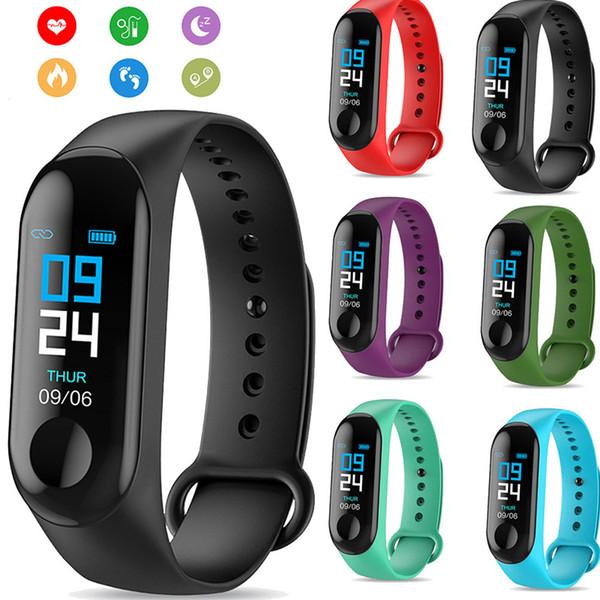 M3 tela colorida esportes fitness pulseira inteligente monitor de pressão arterial e batimentos cardíacos cor tela sensível ao toque cinto inteligente pulseira contador de passos