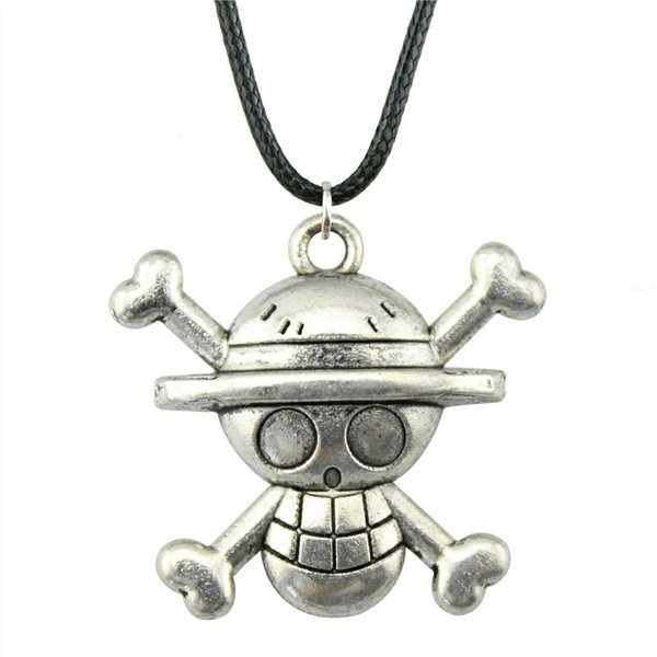 Pendant Skull 29x27mm 2 Colors Antique Bronze Antique Silver Leather Chain Necklace For Women Dropshipping Supplier