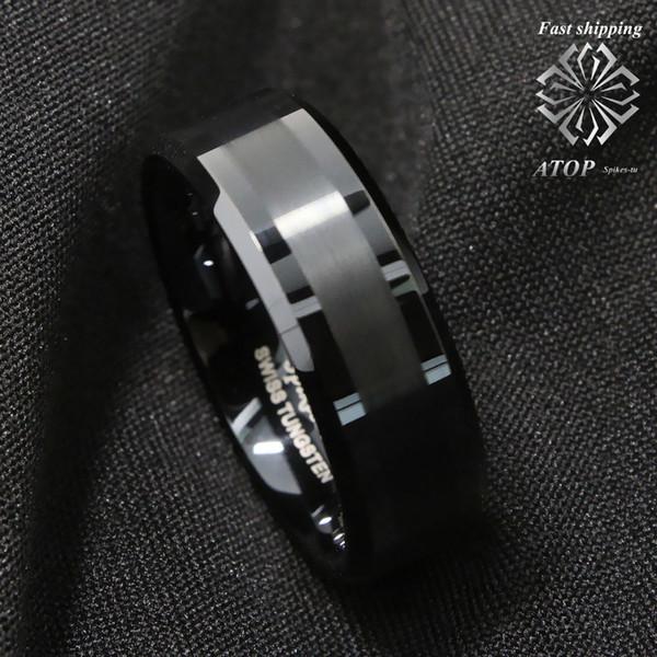 8Mm ATOP Brushed Center nero in carburo di tungsteno anello gioielli per uomo