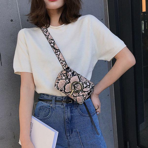 Women Fashion Outdoor Hasp Versatile Serpentine Pattern Type Messenger Bag Chest Waist Phone Bag Great Present HW