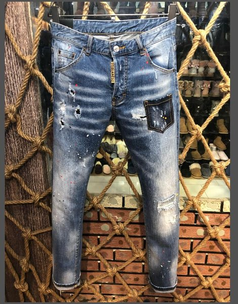 2019 top quality cylinder D2 denim men's jeans jeans embroidered pants feet micro-elastic pants Italian size 44-54 ..