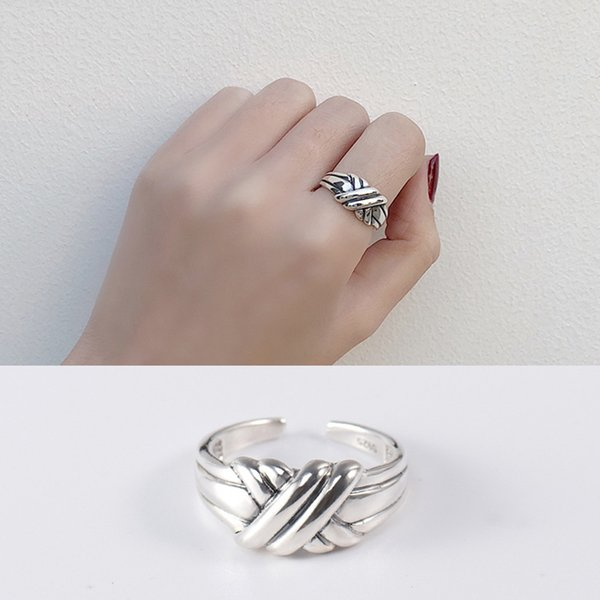 Retro S925 Real Sterling Sliver Ring Full Body Adjustable Opening