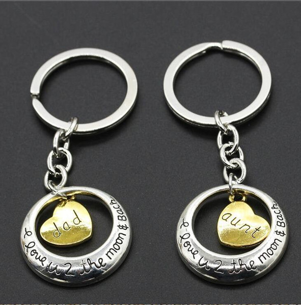 Eu te amo até a lua e de volta KeyChain chaveiro ouro família menber Mãe Filha Vovô coração amor pingente chaveiros presentes de casamento