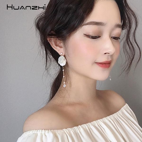 HUANZHI 2019 neue Koreanische Elegante Retro Shell Trennscheibe quaste Lange Perle Metallkette Ohrringe für Frauen Mädchen Partei Schmuck