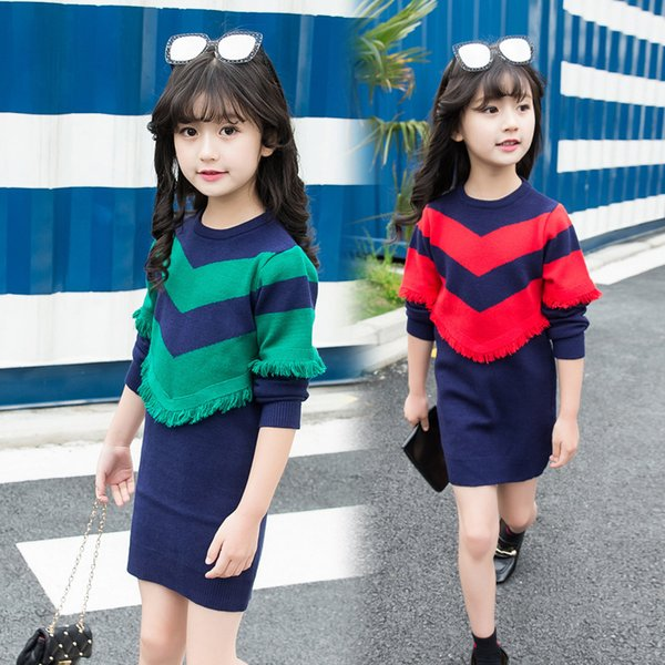 Casual Autumn Winter Girl Dresses New Children Clothing Baby Dress Knitting Pullover Long Sleeve Kids Clothes Sweater For Girl