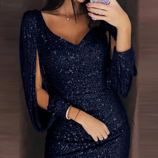 women sequined dress vestidos solid color stitching shining sheath long sleeved dress vneck dresses party vestido de verano