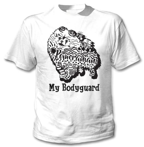 Померанский мой телохранитель б - новый хлопок белый TSHIRTFunny бесплатная доставка мужская повседневная футболка