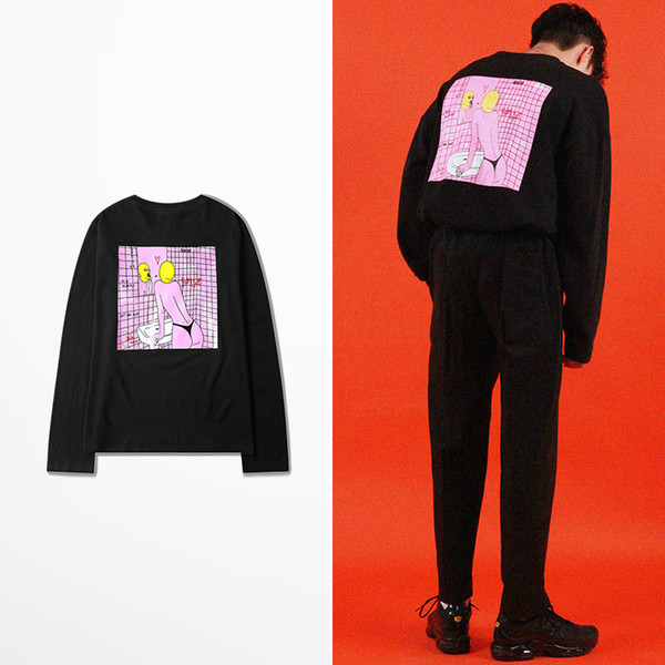 South Korean Fashion Hip Hop T Shirt Long Sleeve Men Skateboard High Street Sexy Funny T Shirts Casual Wear Vintage T-shirt D19010901