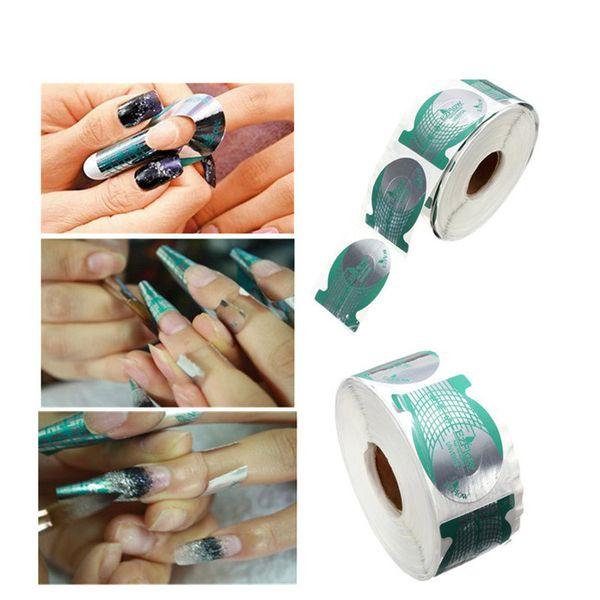 500 Unids Nail Art Francés Forma de Misiles Verdes Forma de Acrílico Polaco UV Gel Extensión Constructor Guía Stencil Sticker
