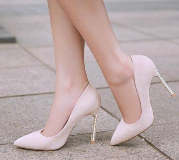 ahorrar 107ee c7cac Compre 2019 Mujeres De Moda Tacones Altos Básicos Tacón Fino Zapatos De  Cuero De Color Multi Zapatos De Fiesta Perla Stud Talón Bombas Zapatos De  ...