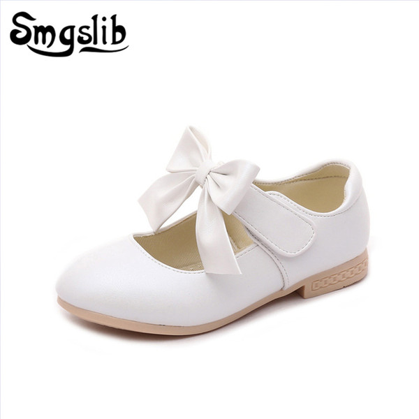 Smgslib Girls Shoes New Leather Princess School Children Wedding Shoes Fashion Bowknot Summer Spring Flat Kids Girl Dress