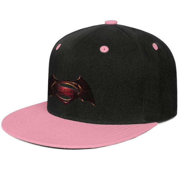 2016 Batman vs Superman original logo bat s29-01 Pink mens and womens hip-hop flat brim cap cool designer custom design your own vintage pe