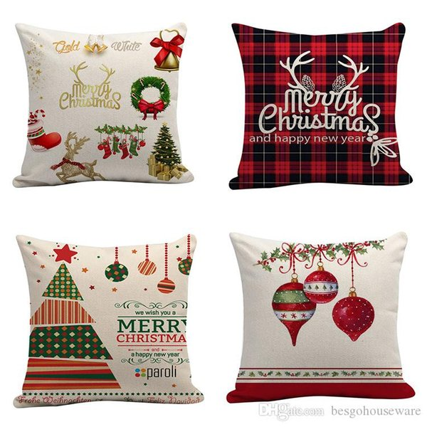 Merry Christmas Letter Print Plaid Pillow Case Cushion Cover Home Decor Welcome