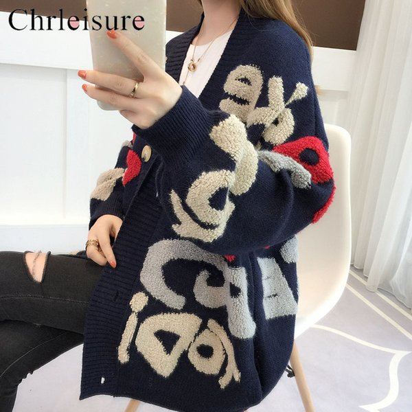 CHRLEISURE Sweater Cardigan Women Thick Letters Lazy Wind Coat Long Knit Cardigan Women Autumn And Winter SH190929