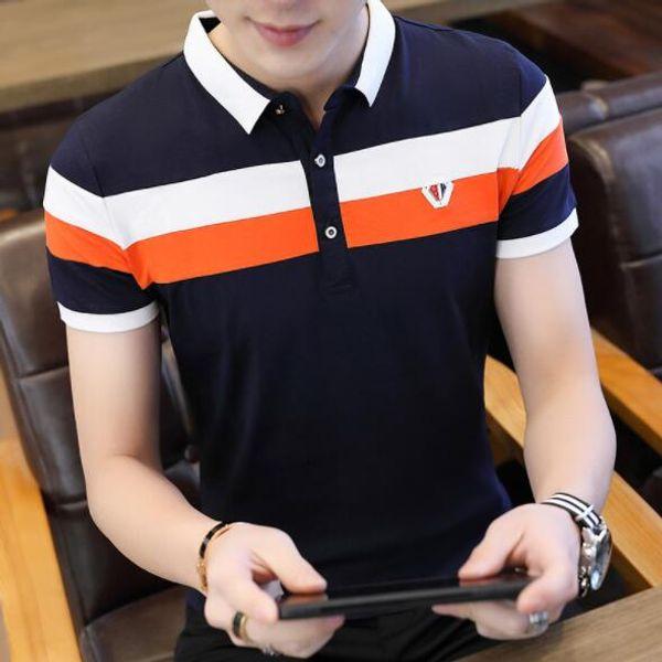2019 Sommer Herren Polo Fashion Designer T-Shirts für Männer Marke Polo Shirts Kurzarm Streetwear Atmungsaktive Herren Tees Shirts 2 Farben M-4XL