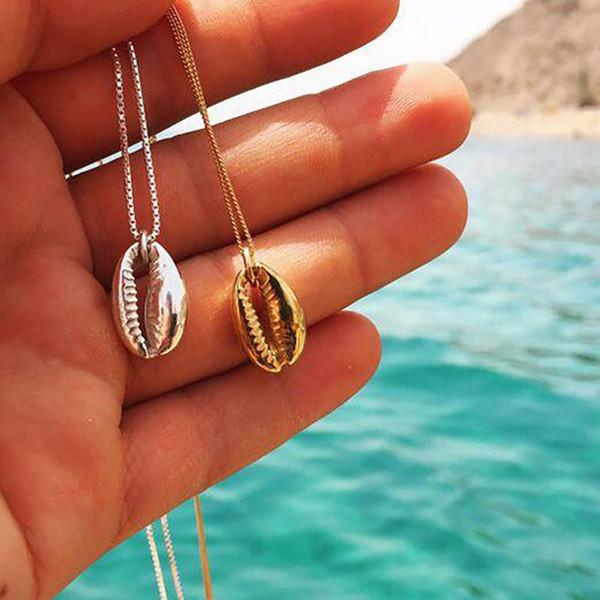 Moda Vintage Cor De Prata de Ouro Concha Shell Colar Para As Mulheres Forma Pingente Simples Seashell Oceano Praia Boho Jóias