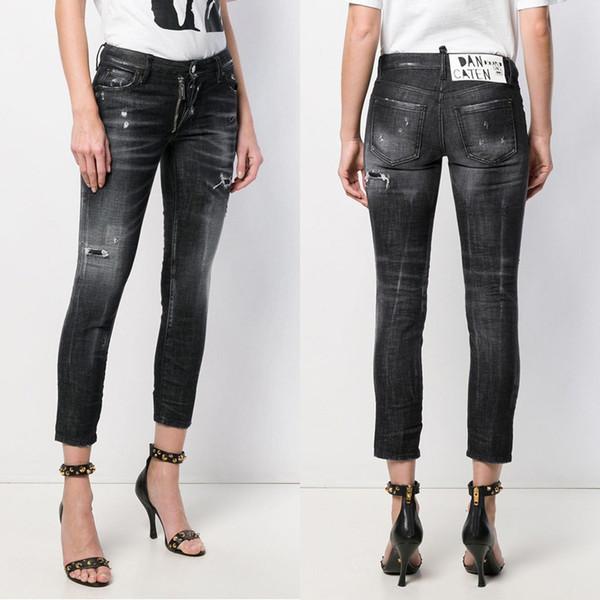 Jeans in denim da donna slim fit neri 2019 2019 Jeans in cotone denim con tasca con zip tinta unita calda distressed