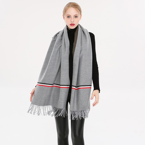 Frauen luxus designer schal dicke wolle écharpes kaschmir schals quaste plus größe stricken wraps stitching styles hohe qualität partei tragen