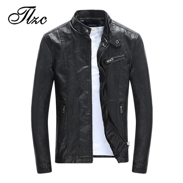 TLZC Men Autumn Winter Velvet Coat Faux Leather Jacket Size M-3XL Mens PU Motorcycle Jacket Male Classic Thick Coat Clothes