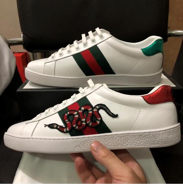 Neue Designer Schuhe ACE Luxus bestickt weiße Tiger Biene Schlange Schuhe aus echtem Leder Designer Sneaker Herren Damen Casual Schuhe Größe 35-46