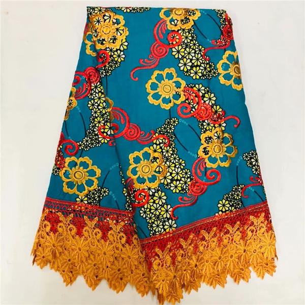 Горячая распродажа Африканская вышивка Анкара воск ткань с водорастворимым кружевом для партии платье WLF226(6 ярдов / лот)