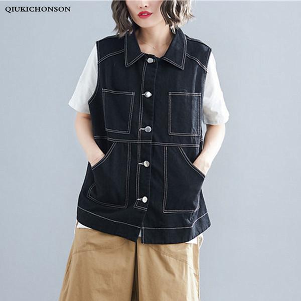 Frühling Sommer Korean Fashion Plus Size Lange Jeans Weste Jacke Frauen Ärmellose Denim Taille Mantel gilet femme lang