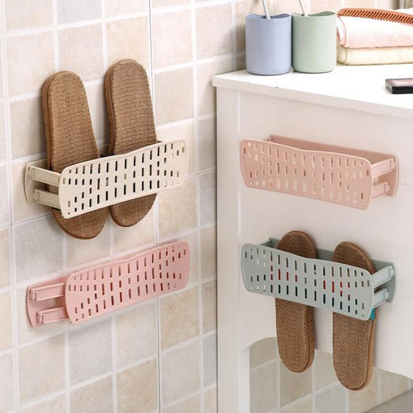 Collapsible Shower Room Shoe Rack Storage Shelves Plastic Wall Mounted Bracket Pure Color Simply Equipped Provincial Space 1 65fcb1